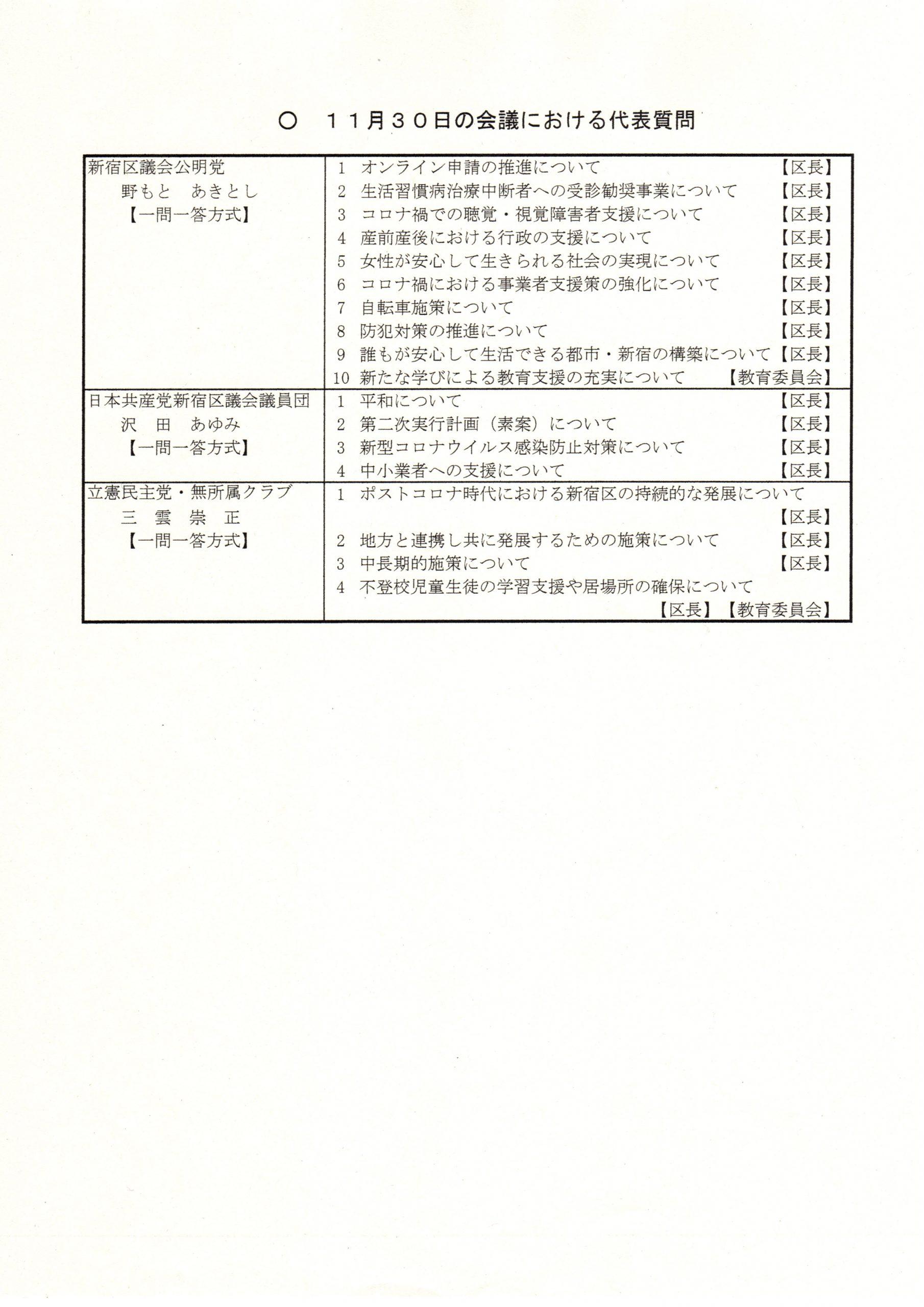 「新宿区議会、12月1日11時20分頃登壇しまーーーッす!!(*゚▽゚)ノ」
