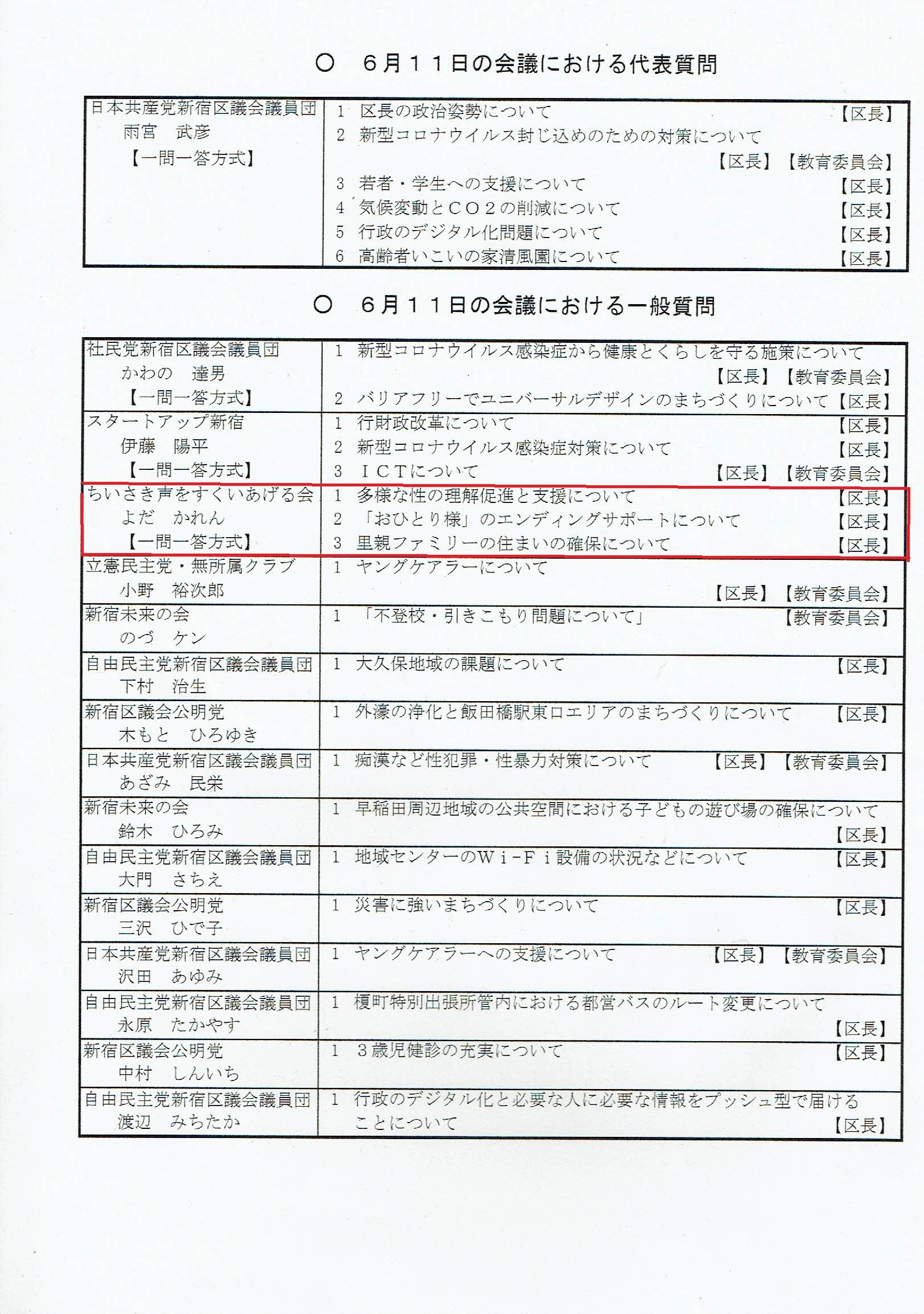 「新宿区議会 令和3年 第2回定例会登壇のお知らせですーーーッヽ(゚∀゚)ノ!」